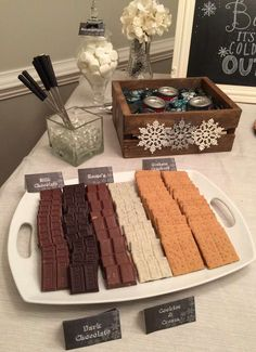 S'mores station at a chalkboard Christmas party! See more party ideas at CatchMyParty.com!