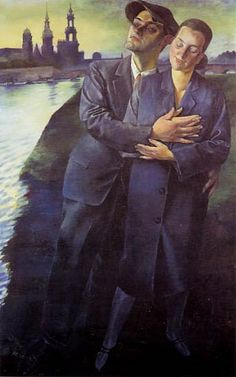 Conrad Felixmüller, Lovers in Dresden, 1927. Conrad Felixmüller (b. 21 May 1897 in Dresden - d. 24 March 1977 in Berlin) was a German Expressionist painter. Born in as Conrad Felix Müller, he chose Felixmüller as his nom d'artiste. One of the youngest members of the New Objectivity movement, Felixmüller was also a member of the Communist Party of Germany. His paintings often deal with the social realities of Germany's Weimar Republic. He was mentor to German expressionist, Otto Dix.
