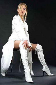 White OTK boots
