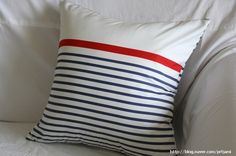 Retro Marine Striped Cotton Pillow CaseCover Slip  by VintageJamie