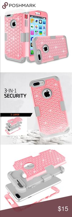 Pink iPhone 7 also fits IPhone 6s Plus case Pink iPhone case cover full coverage dual shock 3 layers fits IPhone 7 & iPhone 6s Plus phones I also have purple available check my other listing Accessories Phone Cases