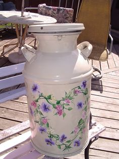 milk can, Painted a milk can for a friend of mine. She's my best customer., Home Decor Project