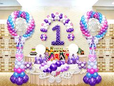 birthday balloon art, you can play with the colors and created a unique look! 1st Birthday Balloons, Baby Shower Balloons, Birthday Parties, Ballon Decorations, Balloon Centerpieces, Balloon Columns, Balloon Arch, Ballon Arrangement, Balloon Bouquet