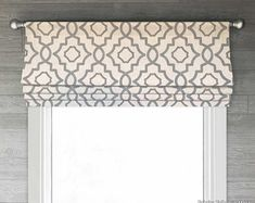Faux Fake Roman Shade Valance Brown and Beige Modern Custom Curtains, Valance Curtains, Valances, Cornice, Winchester, Curtain Shop, Faux Roman Shades, Magnolia Homes, Window Treatments