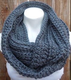 Unisex Chunky Charcoal Infinity Scarf by AurellaBlue on Etsy, $30.00