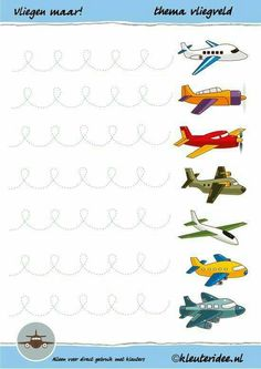 Write Pattern fly it! for preschoolers, theme airplane, Miss Petra nursery idea, preschool writing pattern airplane, free printable. Preschool Writing, Preschool Worksheets, Writing Activities, Preschool Activities, Airplane Activities, Pre Writing, Writing Skills, Motor Activities, Educational Activities