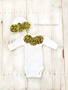 Baby Newborn Girl Take Home Outfit Infant One Piece Onesie and Baby Hat with Olive Green Rosette's Color of Matilda Jane Baby Shower Gift on Etsy, $33.95