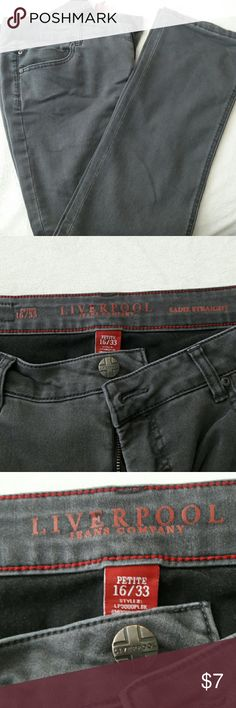 Jeans (PETITE) Liverpool Jean Company This is a grey pair of PETITE jeans . The length measures 27 inches. In good condition. Liverpool Jeans Company Jeans Straight Leg