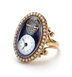 an yellow gold and pe Antique Watches, Antique Rings, Vintage Watches, Vintage Rings, Antique Jewelry, Vintage Jewelry, Ring Watch, Pearl Set, Telling Time