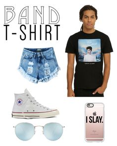 """"""""""" by kenzie4ever11 on Polyvore featuring Converse, Ray-Ban, Casetify, bandtshirt and bandtee"""