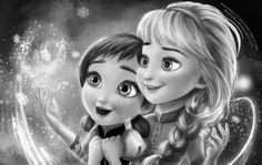 Anna en Elsa als kindjes