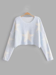 c138028a44 Drop Shoulder Star Pattern Crop Jumper Sweater Fashion