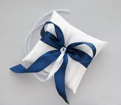 $19.00, White Ring Pillow with Navy Blue Ribbon, Wedding Bearer Cushion