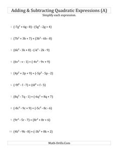 New Adding And Subtracting And Simplifying Quadratic Expressions (A) Math  Worksheet