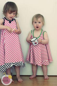 Diagonal stripes dresses from Nosh organic jersey fabric