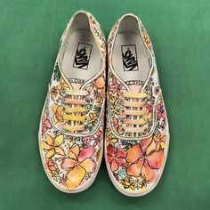 2019 Vans Custom Culture ambassador Rebekah Steen designed these awesome shoes as inspiration for this year's US High School participants. Students that are entered: don't forget design submissions. Custom Vans, Custom Shoes, Custom Sneakers, Fancy Shoes, Buy Shoes, Sneakers Fashion, Fashion Shoes, Yeezy Boots, Vans Girls