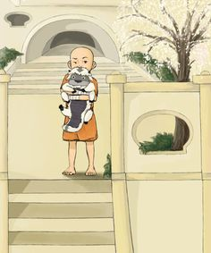 young Aang and Appa. cuteness