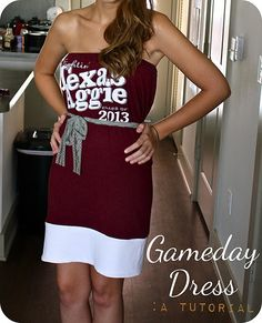 DIY game day dresses. A cute way to turn a Tshirt into something cuter.