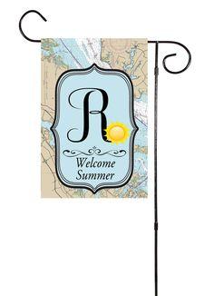 Welcome Summer - Sunshine Initial Nautical Garden Flag