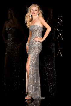 #SCALA  Spring 2016 style 48589 Platinum! #scalausa #spring2016 #prom2016 #gown #promdress #eveningwear #dress #sequins #specialoccasion #prom2k16 www.scalausa.com