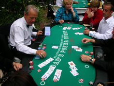 Casino party games like blackjack with chairs for 9 players