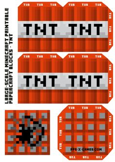 This page has all kinds of printable Minecraft blocks, and the site has a ton of 3D foldable Minecraft printables. Large Scale Minecraft printable TNT block