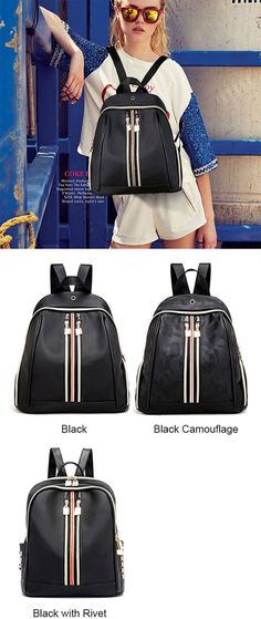 9058298f098c0 Fashion Double Vertikale Streifen Schwarz Nylon Schulrucksack  bag  Backpack   school  stripe