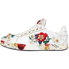 DOLCE & GABBANA 20mm Floral Embellished Leather Sneakers ($2,375) ❤ liked on Polyvore featuring shoes, sneakers, white, floral print sneakers, floral pattern shoes, leather trainers, white shoes and dolce gabbana sneakers