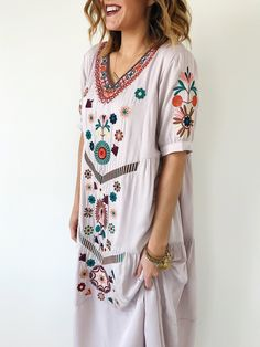 Lilac embroidered summer dress | ROOLEE