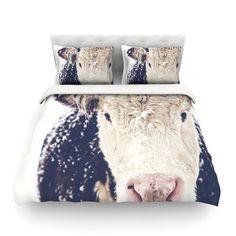 "Debbra Obertanec ""Snowy Cow"" Black White Featherweight Duvet Cover"
