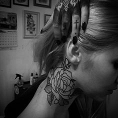 rose neck tattoo tattoo roses neck tattoos rose tattoos flower tattoos ...