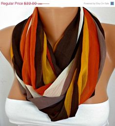 ON SALE Line Infinity Scarf Shawl Circle Scarf Loop Scarf  Gift -fatwoman - Brown - Mustard - Beige