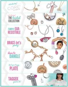 Origami Owl is more than just lockets and charms.  We have a dainty and sophisticated new CORE collection, earrings, bracelets, dangles, plates, Tagged for affirmation statements, and even special items for your Bridal party.  #origamiowl #loveo2 #corecollection #bridal #earrings #bracelets #affirmation