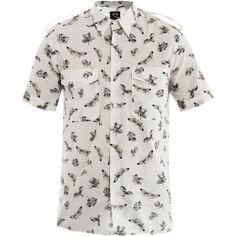 McQ Alexander McQueen Moth-print short-sleeve shirt ($109) ❤ liked on Polyvore featuring men's fashion, men's clothing, men's shirts, men's casual shirts, kevin stuart, mens long sleeve cotton shirts, mens short sleeve shirts, mens long sleeve casual shirts, mens short sleeve cotton shirts and mens cotton shirts