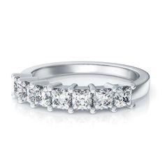 Under $2,000 ! 1.19ctw Princess Cut Seven Stone Diamond Wedding Ring in 14kt White Gold