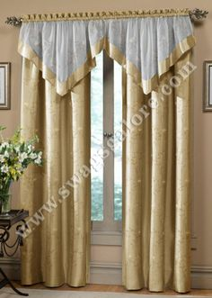 The Hawthorne curtains are a gracefully embroidered motif featuring floral and stem pattern on faux silk. The matching valance is a combination of embroidered sheer voile banded with solid faux silk. Cream Curtains, Cute Curtains, Curtains And Draperies, Elegant Curtains, Panel Curtains, Valances, Window Curtain Designs, Drapery Designs, Curtain Styles