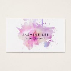 chic modern makeup artist watercolor purple grunge business card.A modern and pastel grunge watercolor business card featuring a brush stroke of blush or lip color with your name. Perfect for hairstylists, hair stylists, hairstylists, hair dressers, cosmetologists, cosmetology, salons, spas, makeup artists and more! #zazzle #chic #watercolor #pink #businesscards >>Visit link to see if you can save with coupon codes or promotions!<<
