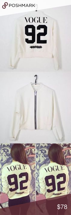 Vogue Wintour Jacket Bomber shaped black front zip collard jacket. Trendsetter NY styled jacket. Color White with black script writing on back. KJ Couture Jackets & Coats