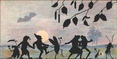 Silhouette whitsuntide w. gnom insect moon fantasy postcard pfingsten 1910s   eBay, $9.00