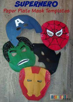 Paper plate super hero masks