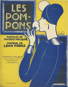 """Les Pom-Pons"" ~ Vintage sheet music cover illustrated by Peter de Greef (1901-1985), ca. 1920s."