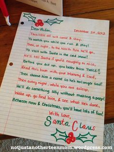 Image result for letter explaining elf on a shelf to 3 year old