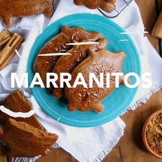 "Marranitos are often called ""Gingerbread Pigs."" Traditional marranitos get their delicious spicy-brown flavor from molasses. They are rich and so gratifying, their cake-like texture is reminiscent of Mexican Pastries, Mexican Sweet Breads, Mexican Bread, Mexican Dishes, Authentic Mexican Recipes, Gourmet Recipes, Baking Recipes, Dessert Restaurant, Biscuits"