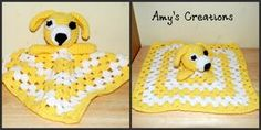 """This Dog Lovey Pattern is great for a newborn gift for a shower or for your own baby. This blanket attached to the dog is done in a granny square pattern. Enjoy this Crochet Puppy Dog Lovey Pattern!"""