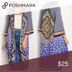 Multi Print Longline Open Kimono Open front longline kimono in a multi print of beautiful colors. Light flowy rayon, 3/4 sleeves. This will jazz up any outfit! Quality piece. Made in USA Jackets & Coats