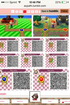 mario world qr code path blue red dot destination xD clever. rest of paths also here http://acpath.tumblr.com/page/3 i know its too small. so theres the link.