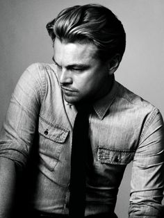 leo black and white. oh heck... in a denim dress shirt