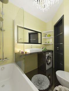 kleines bad gestalten pastellgelb badewanne glas trennwand waschtisch