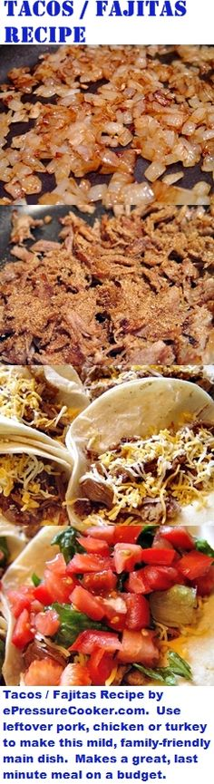 """Mexican / TexMex Recipes:  Tacos / Fajitas Recipe by ePressureCooker.com . Don't buy those pricey commercial spice mixes - mix your own!  Then use leftover pork, chicken or turkey to make these mild, family friendly tacos.  Makes a great, budget-friendly last minute meal or scale up the recipe for a """"make your own tacos"""" buffet for a Cinco de Mayo party."""
