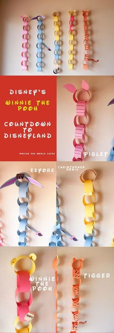the Pooh Disneyland Countdown This is so cute and clever! Winnie the Pooh Disneyland Countdown at Making the World Cuter. Winnie the Pooh Disneyland Countdown at Making the World Cuter. Winnie The Pooh Themes, Cute Winnie The Pooh, Winnie The Pooh Birthday, Disney Birthday, Disney Theme, Walt Disney, Disneyland Countdown, Pooh Bebe, Paper Chains
